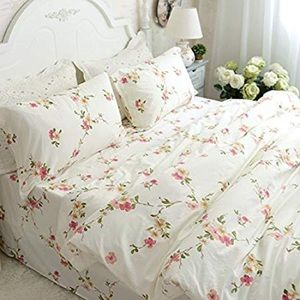 FADFAY Shabby Beige Floral Duvet Cover Set
